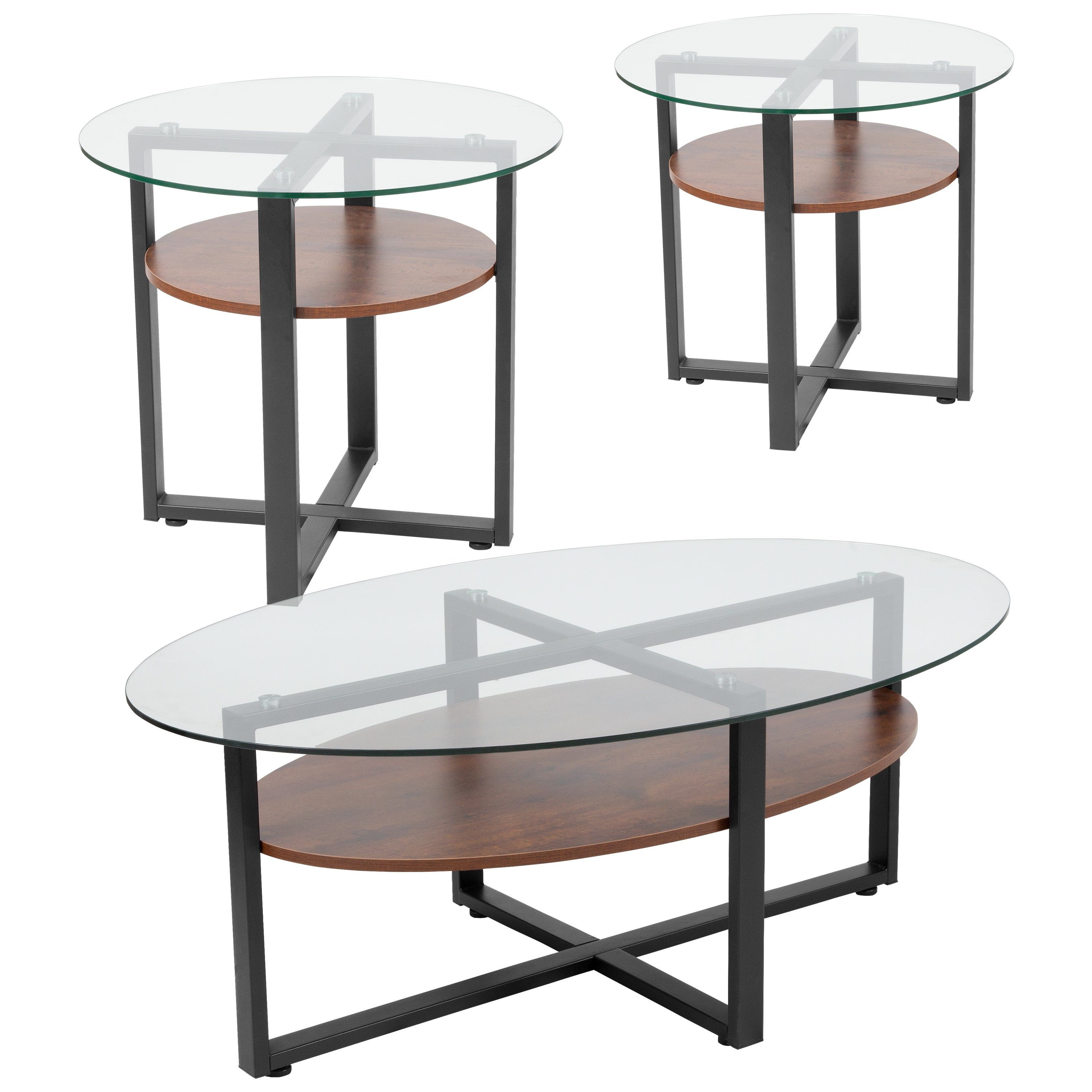 Princeton Collection 3 Piece Glass Table Set With Wood Finish And Metal Legs Glass Table Set Coffee End Tables End Table Sets