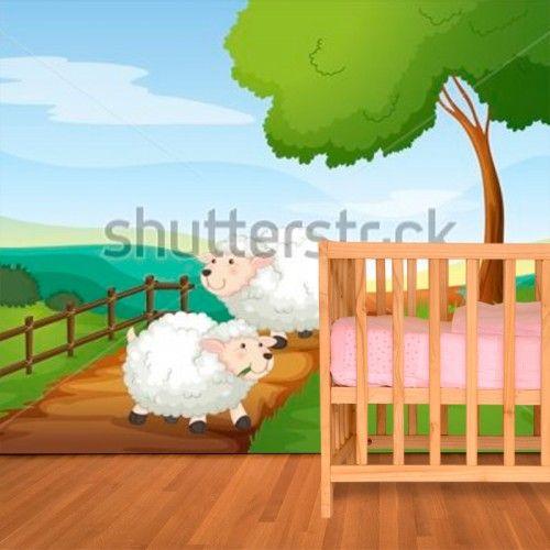 Baby Behang Schaapjes.Fotobehang Schaapjes Aan De Wandel Maak Het Jezelf Eenvoudig En