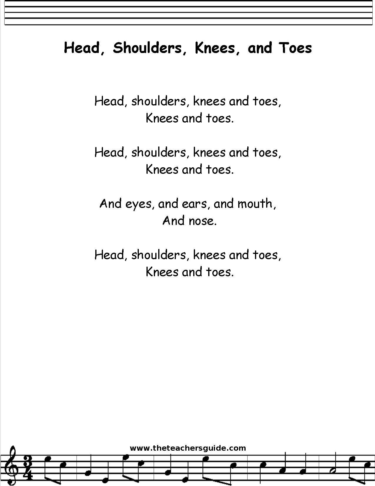 head shoulders knees and toes lyrics printout midi and video
