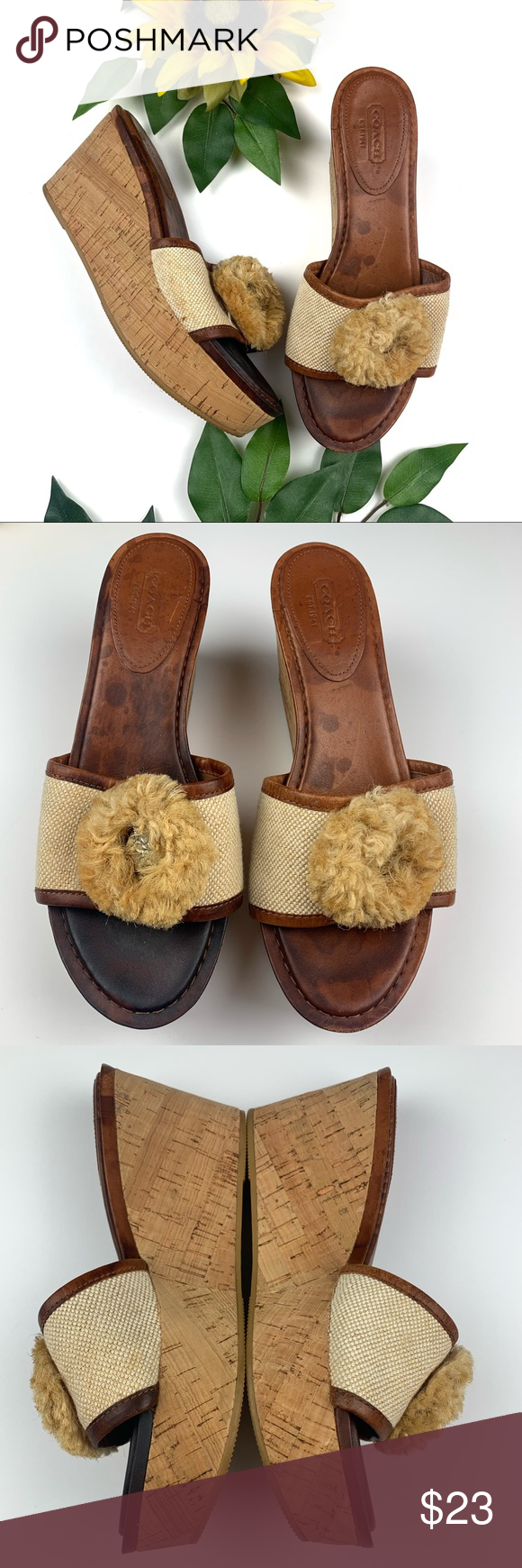 f7b40dc566 Coach Jazmin Cork Wedge Leather Slide On Sandals These are in good used  condition. The