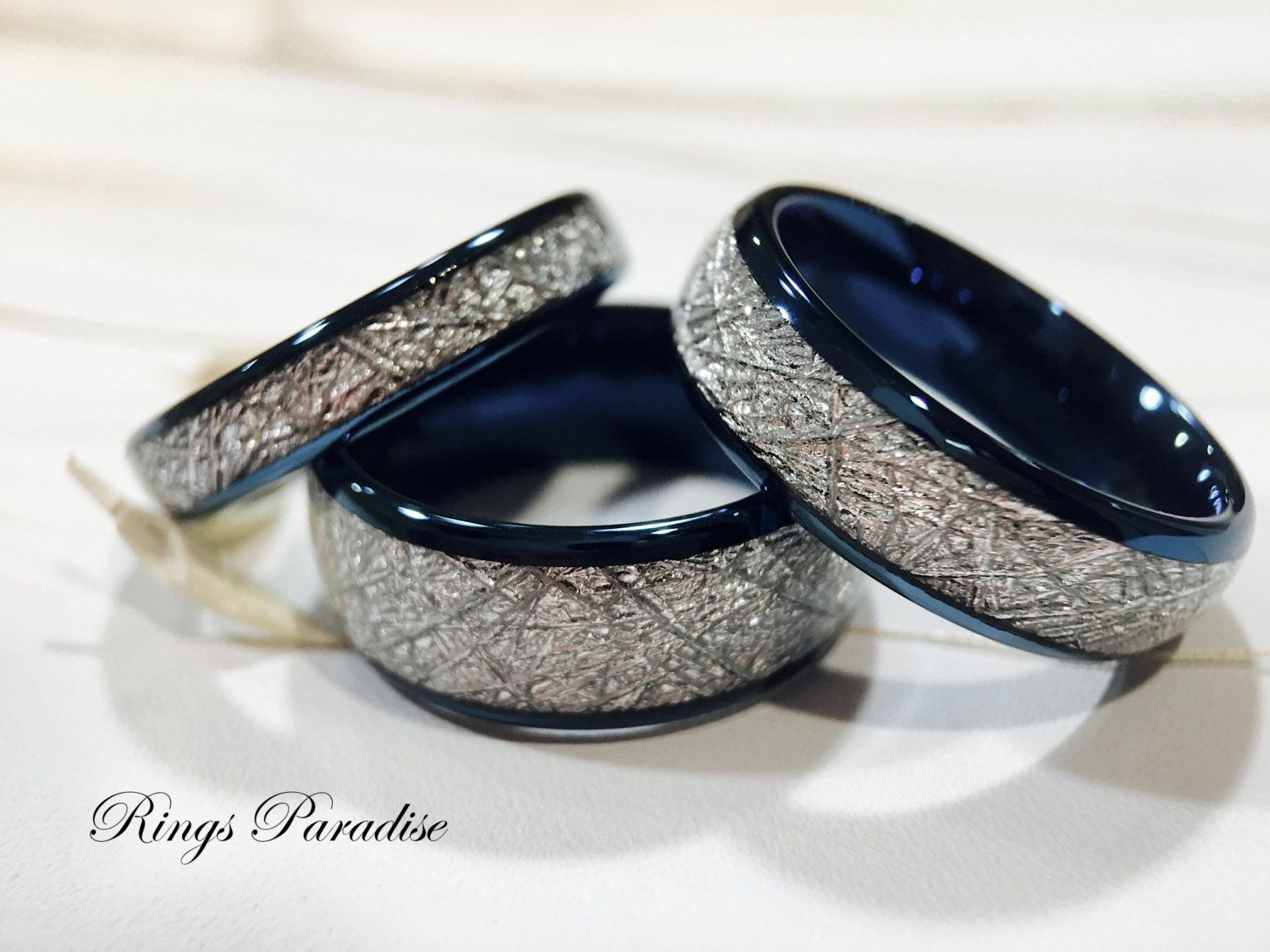 matching wedding bands, meteorite inlay rings, his and her