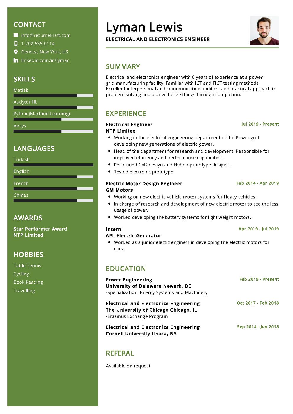 Electrical Engineer Sample Resume in 2020 Engineering