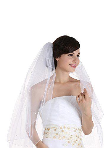 2T 2 Tier Pencil Edge Rhinestone Crystal Bridal Wedding V…