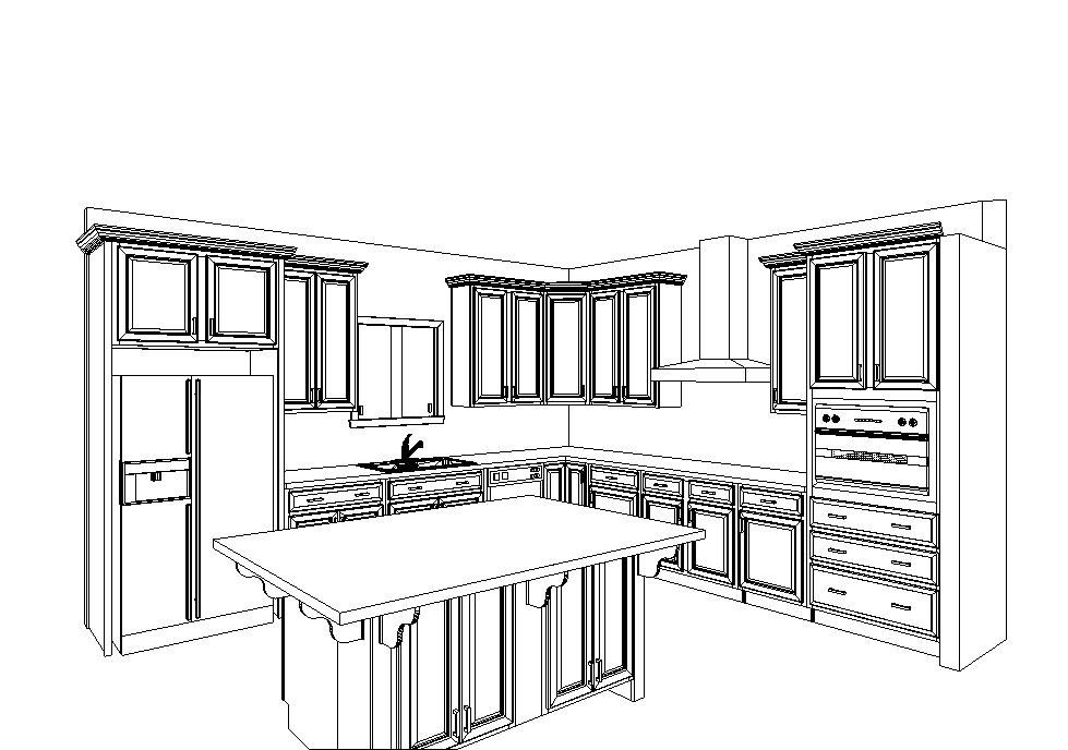 kitchen layout with double wall oven