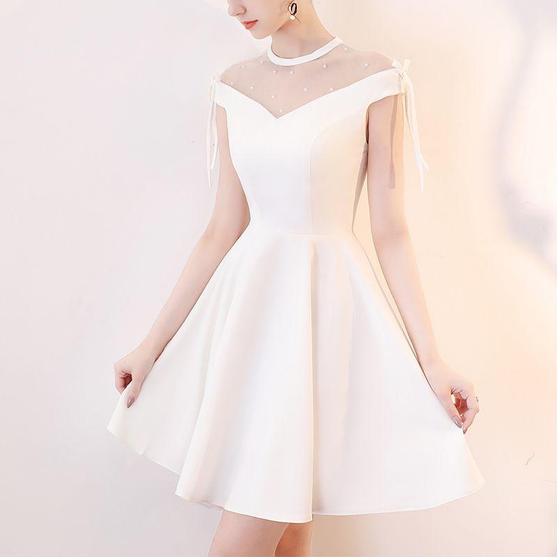 3a9fad2112088 Elegant Simple White Cocktail Dresses Off The Shoulder Short Formal ...
