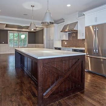 Best White Cabinets With Dark Brown Island Transitional 640 x 480