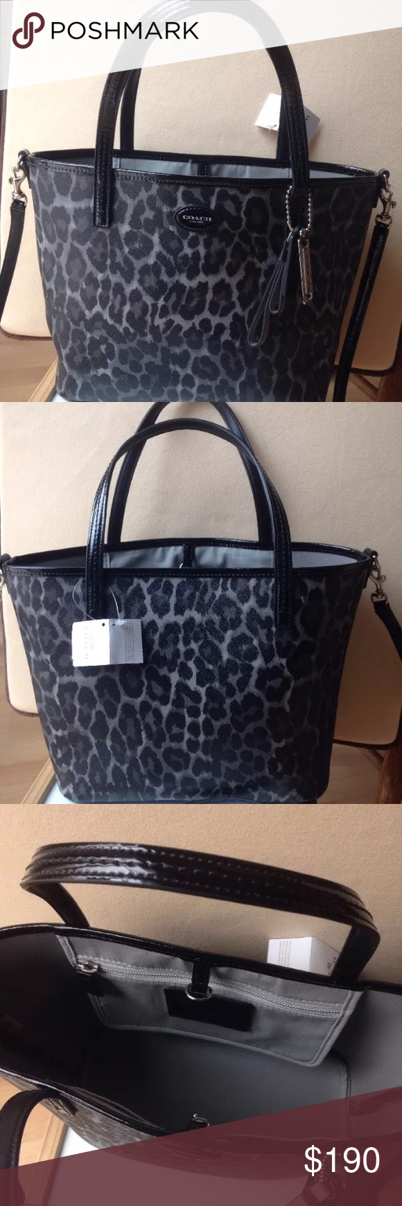 846aa08530ce 🎀new coach black leopard ocelot tote purse🎀 Can be carried on the arm or  shoulder using the long strap. The long strap is removable.