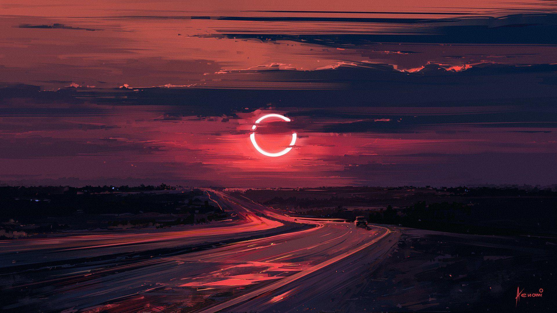 Fantasy Moon Eclipse Evening Cloud Road Artwork Wallpaper Colorful Landscape Scenery Wallpaper Desktop Wallpaper Art Hd wallpaper sunset clouds road hills