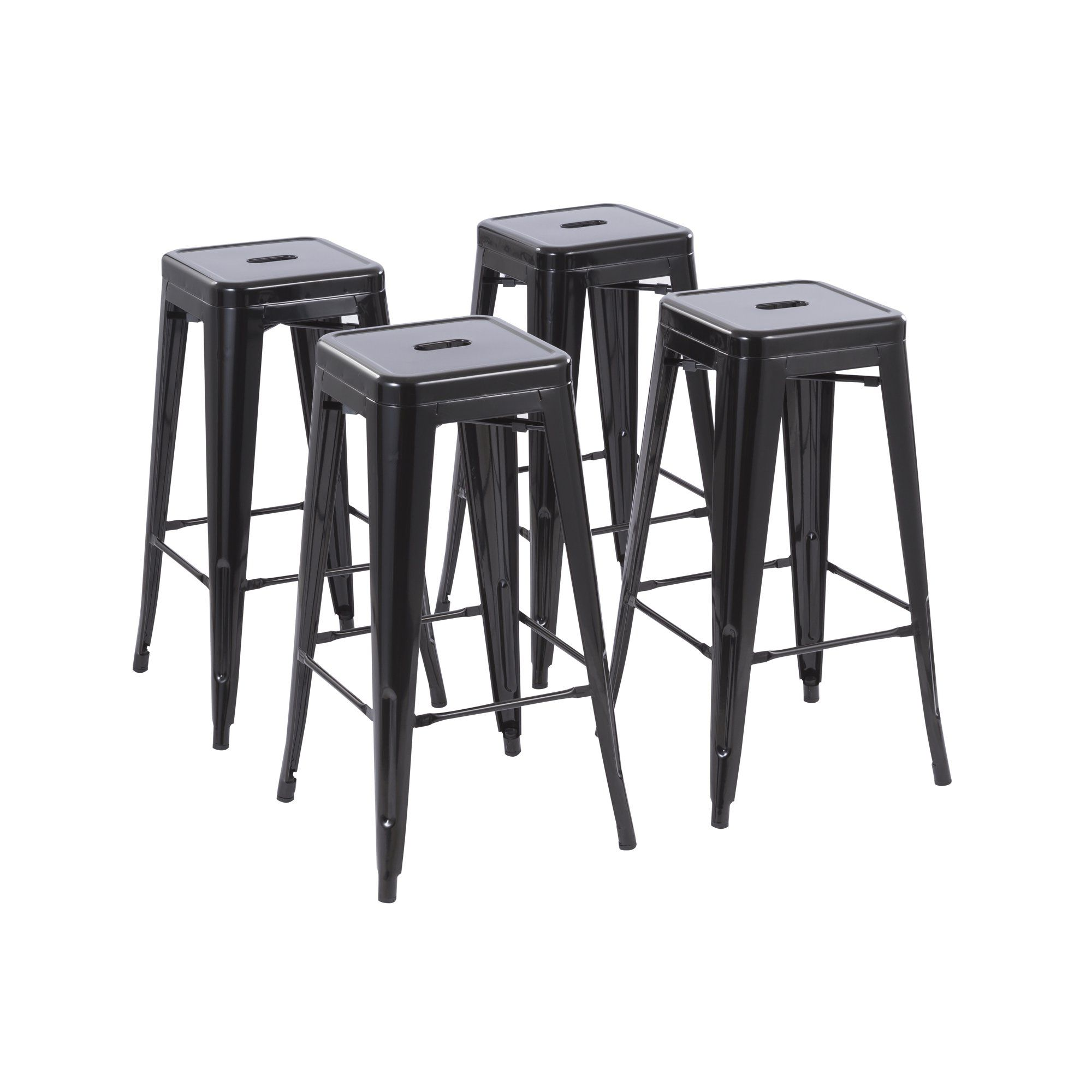 Howard 30 Backless And Armless Metal Bar Stool Set Of 4 Multiple Colors Gunmetal Black Silver Red Wa In 2021 Metal Bar Stools Metal Counter Stools Bar Stools Bar stool sets of 4