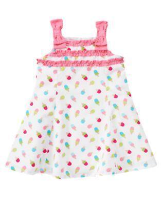 Gymboree ICE CREAM SWEETIE White Pink Cone Print Ruffle Bow Sun Summer Dress NWT