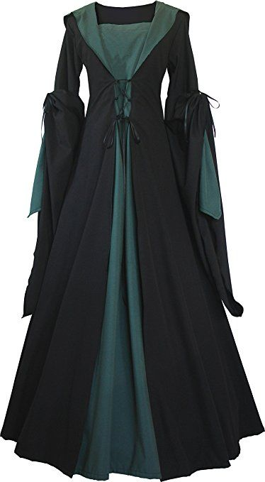 dornbluth damen mittelalter kleid milienn schwarz 52 54 schwarz dunkelgr n mittelalter. Black Bedroom Furniture Sets. Home Design Ideas