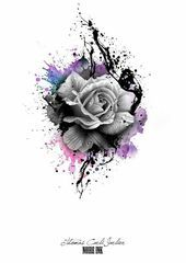Photo of Disney tattoo – gray rose and bright colors roses tattoo template idea for a tattoo for … …