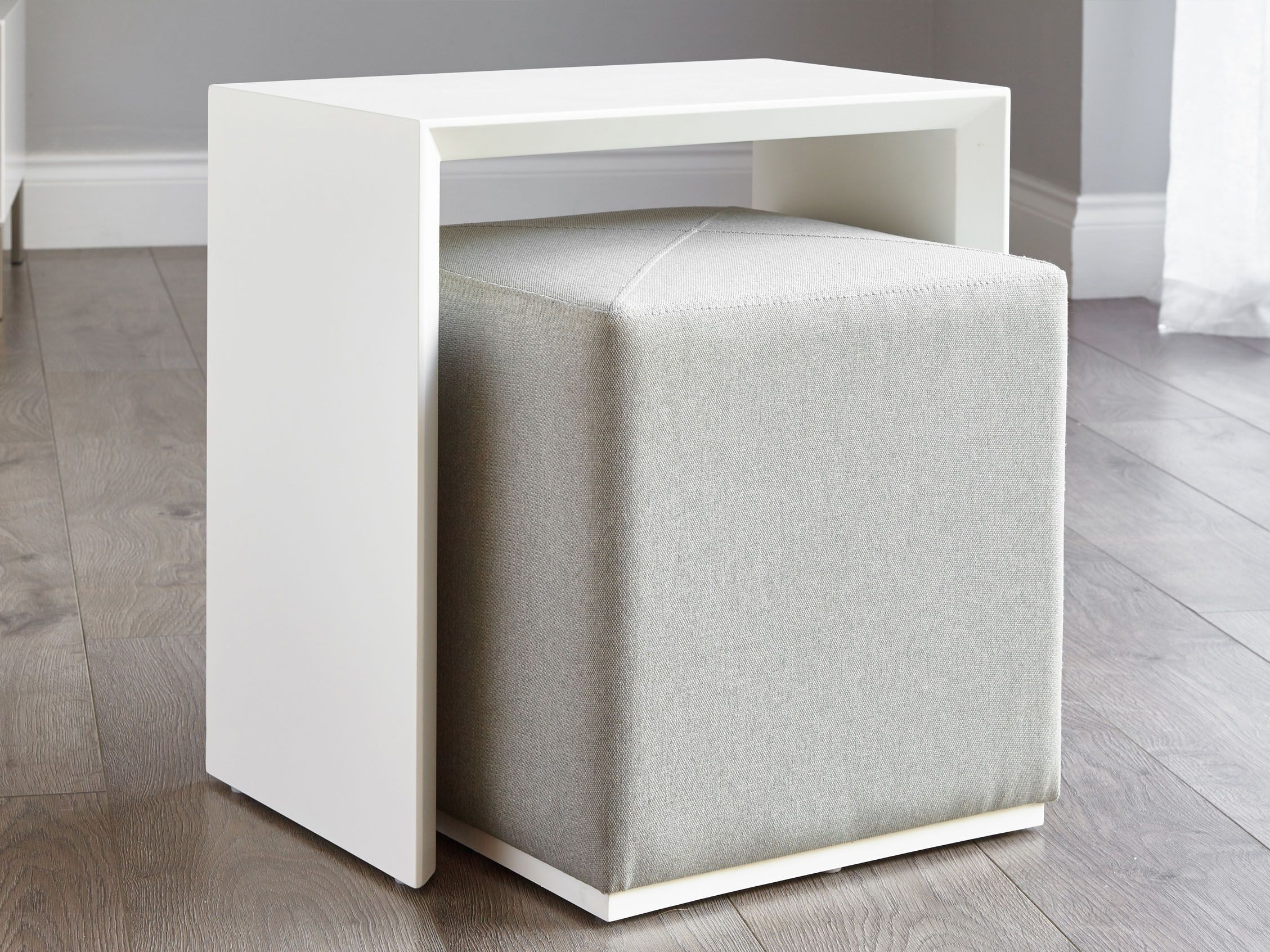 Duo White Gloss Side Table And Silver Grey Fabric Stool Set Lounge