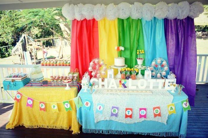 Vintage Rainbow Birthday Party Rainbow birthday parties Rainbow