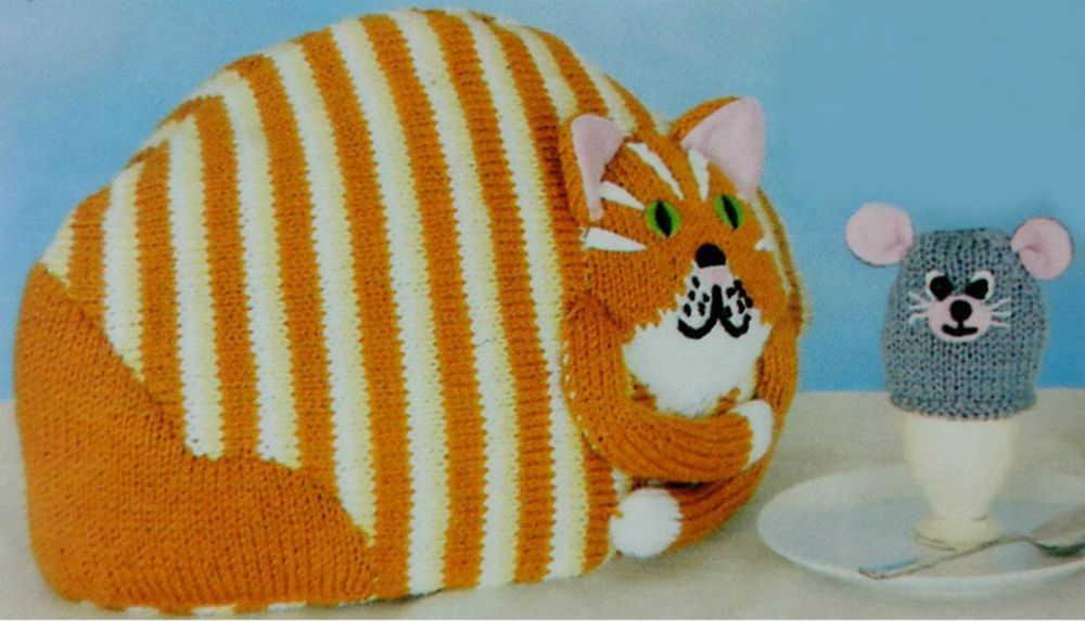 Knitting Pattern Cute Novelty Striped Ginger Tom Cat Tea Cosy