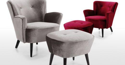 Lotus Sessel, Samt in Silbergrau Silbergrau, Sofa sessel und Sessel - sessel wohnzimmer design