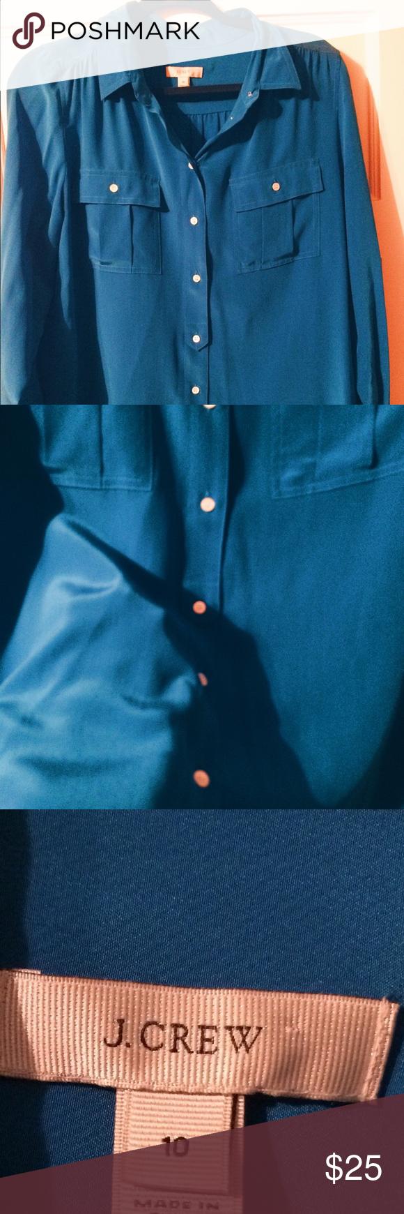 J crew sz 10 silk button up shirt blue cobalt 100% silk! Pretty cobalt color. Sz 10. Only worn a couple times J. Crew Tops Blouses