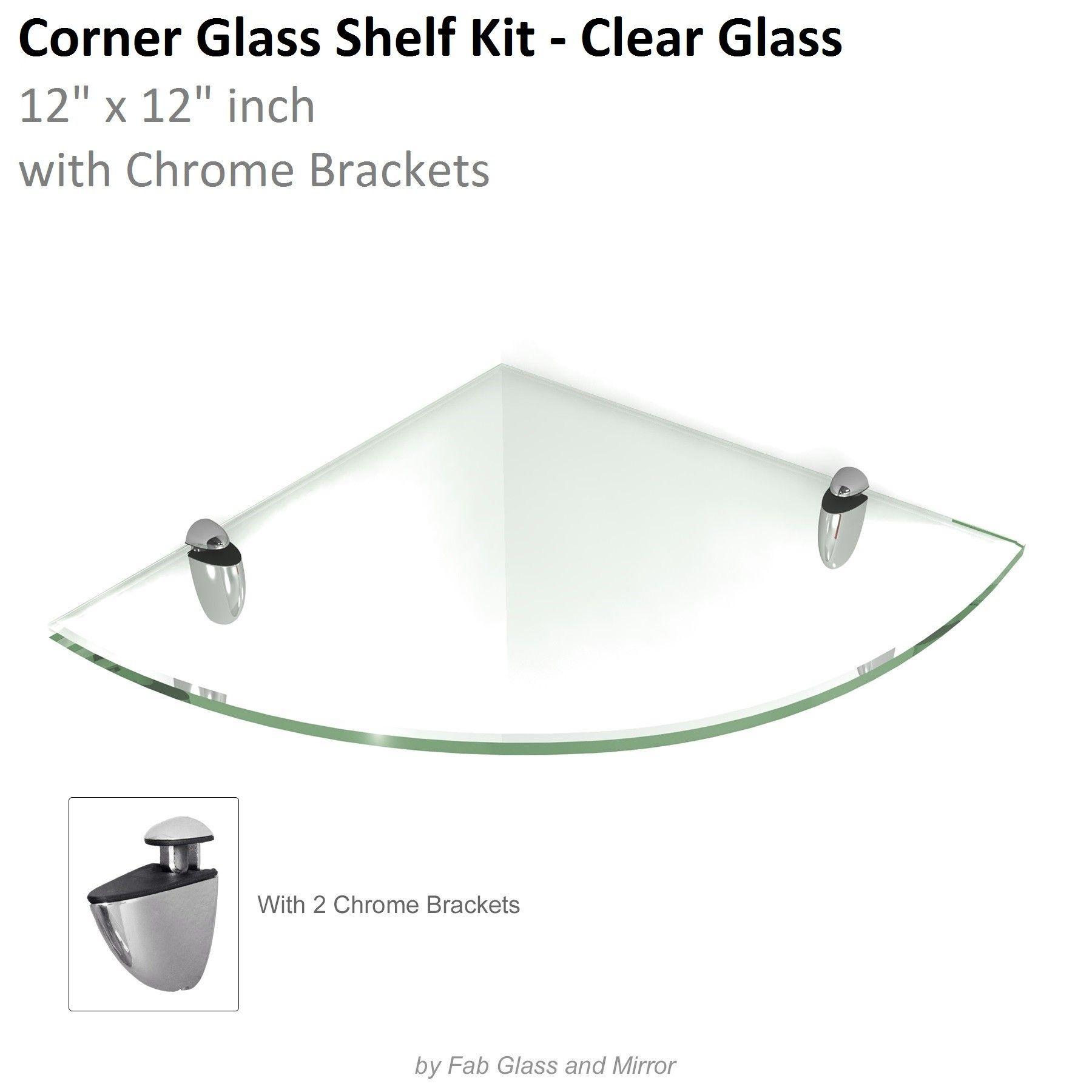 Clear Floating Glass Shelves (Corner) 12x12 inch w/ Brackets ...