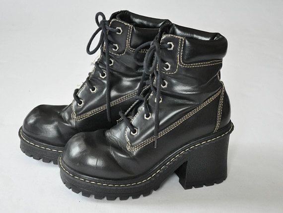 aa3c6e1a59d7 90s LEI Black Leather Boots    Chunky Boots    Platform Boots    Lug ...