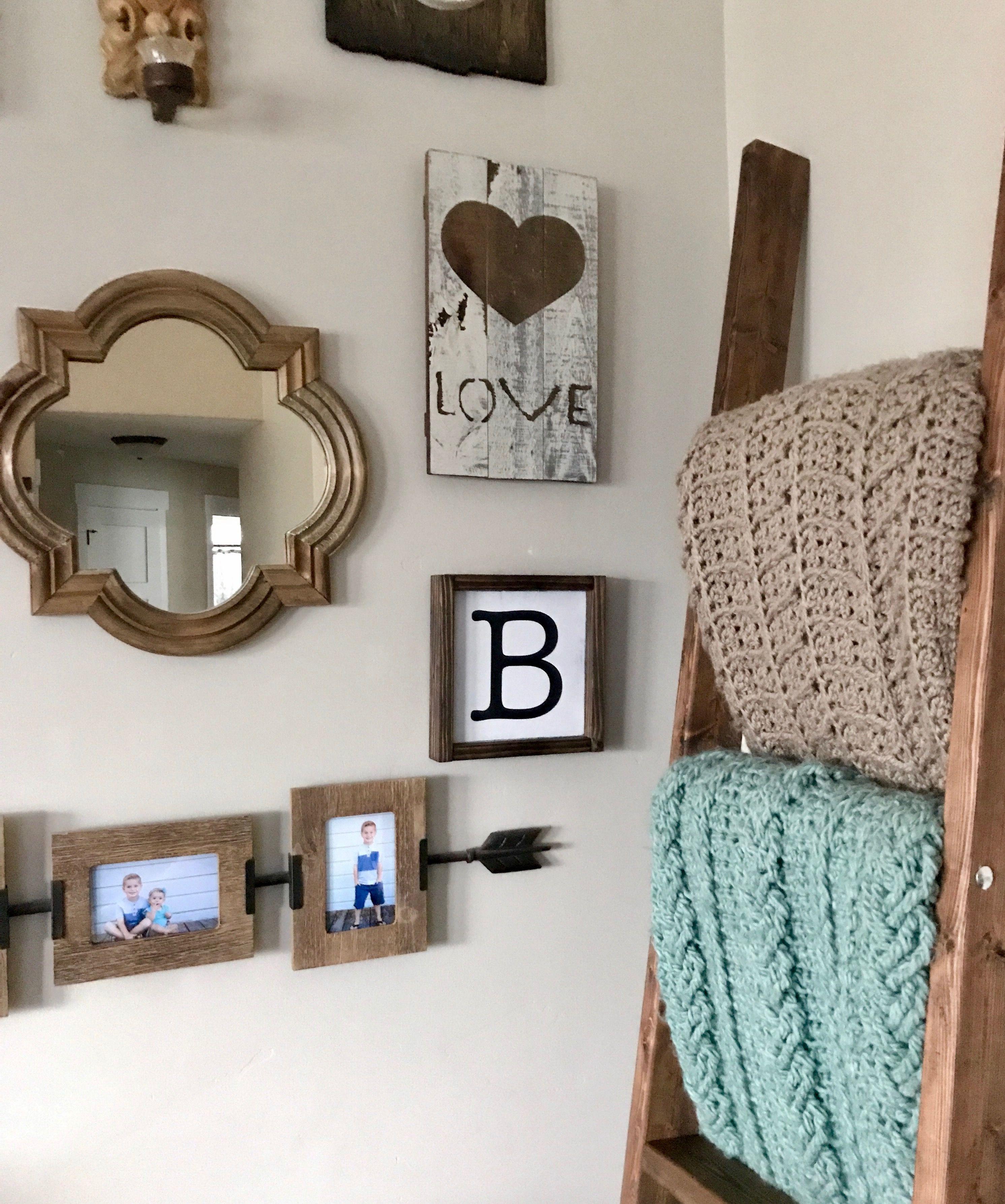 Family initial sign wood blanket ladder crochet afghans farmhouse