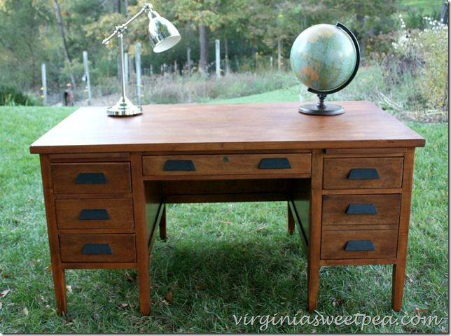 An antique teacher's desk found at Goodwill for $25 gets a makeover. What a  difference - Vintage Teacher's Desk Makeover Desks, Desk Makeover And