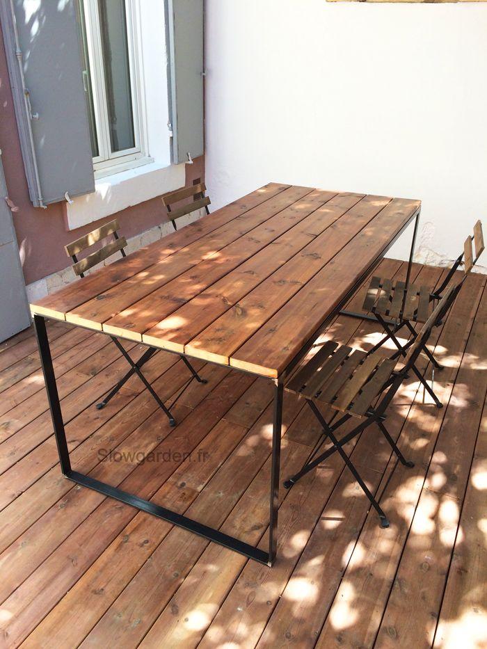 table en bois et métal sur mesure/ slowgarden / marseille cabane