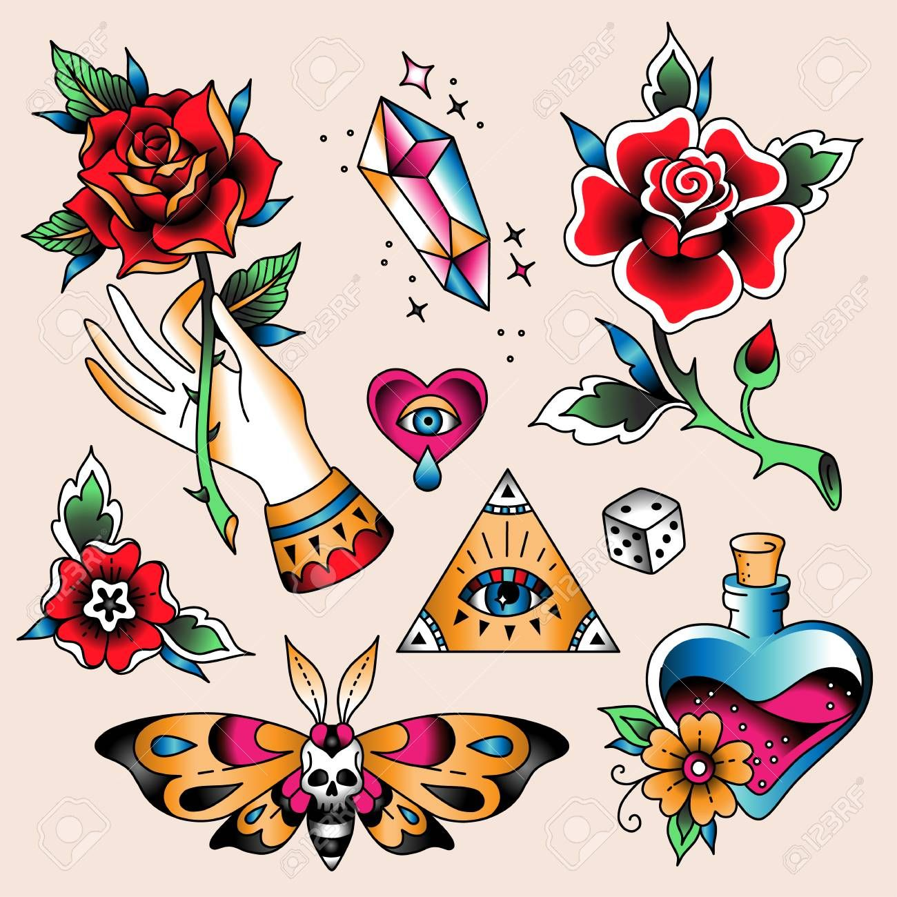 Set Of Color Tattoos At Traditional Vintage Style Romantic Symbols Illustration Ad Old School Tattoo Designs Traditional Tattoo Traditional Tattoo Flowers