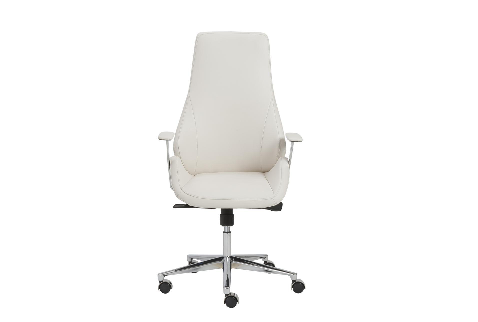 Viborg White Vegan And Chrome High Back Desk Chair - $650