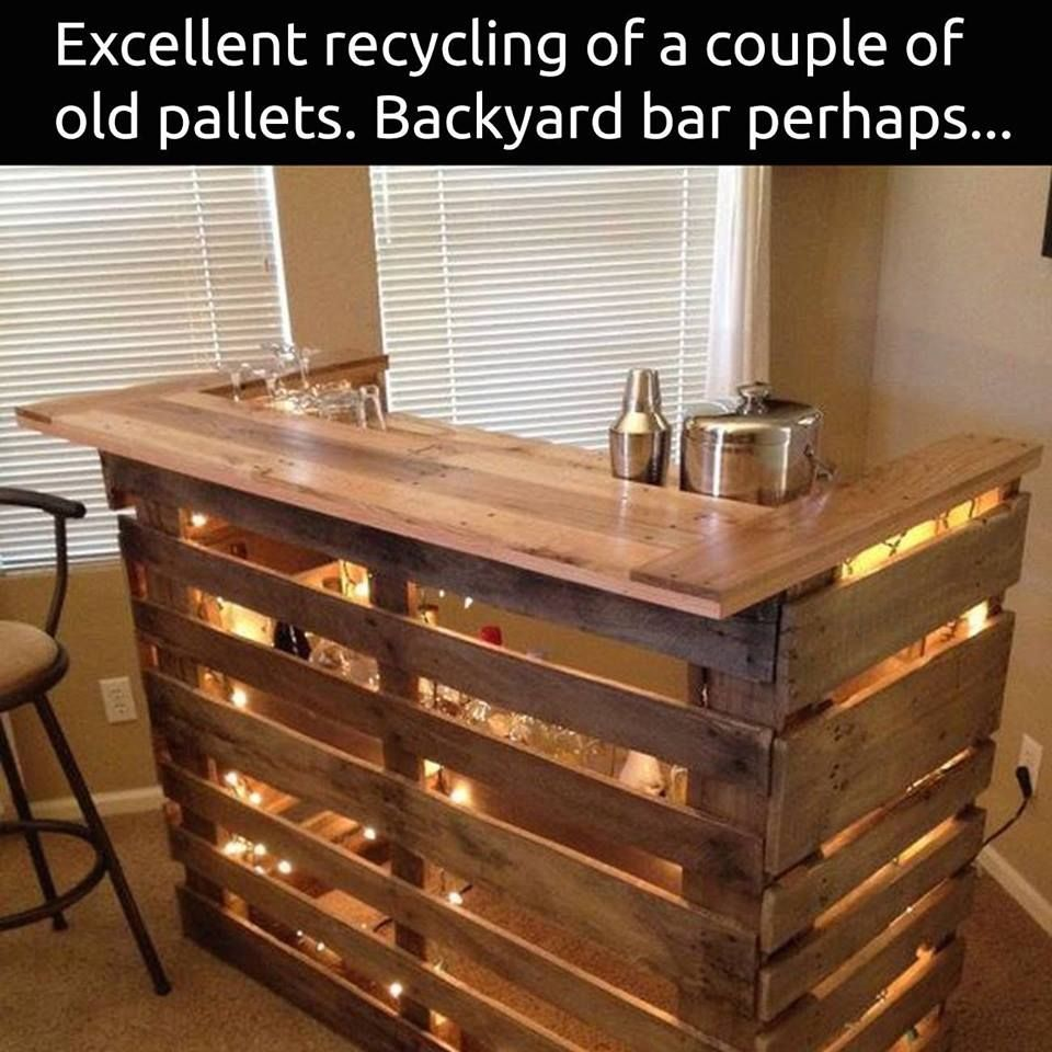 Outdoor wood pallet furniture 3 diy pallet projects with - Diy Wood Pallet Bar More