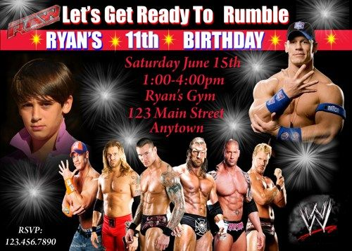 WRESTLING BIRTHDAY INVITATION Wrestling banner printable – Wwe Party Invitations