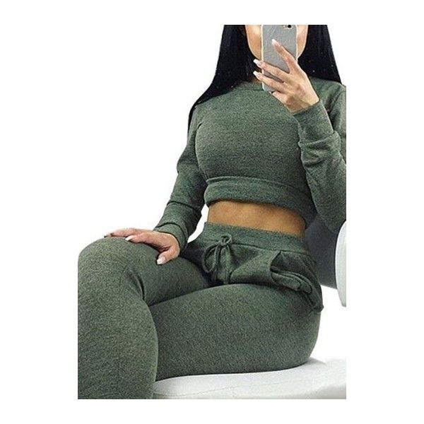 Rotita Olive Cropped Sweatsuit Matching Cropped Sweatshirt And Joggers... ($27) ❤ liked on Polyvore featuring army green