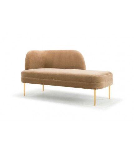 küche, sofacompany, Elba, chaise, Left, Velour Beige, Brass Color