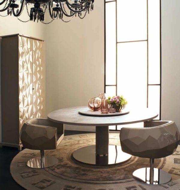 Fendi Casa Designermöbel Glanz Esszimmer Sessel Runder Tisch