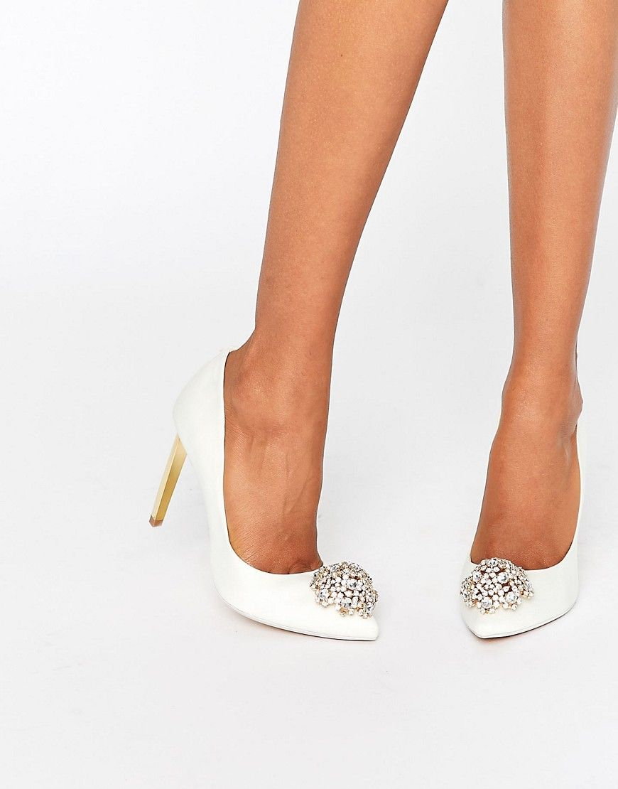 e2a5bbb2eb5cf1 Ted Baker Peetch Tie The Knot Ivory Embellished Pumps in 2019 ...