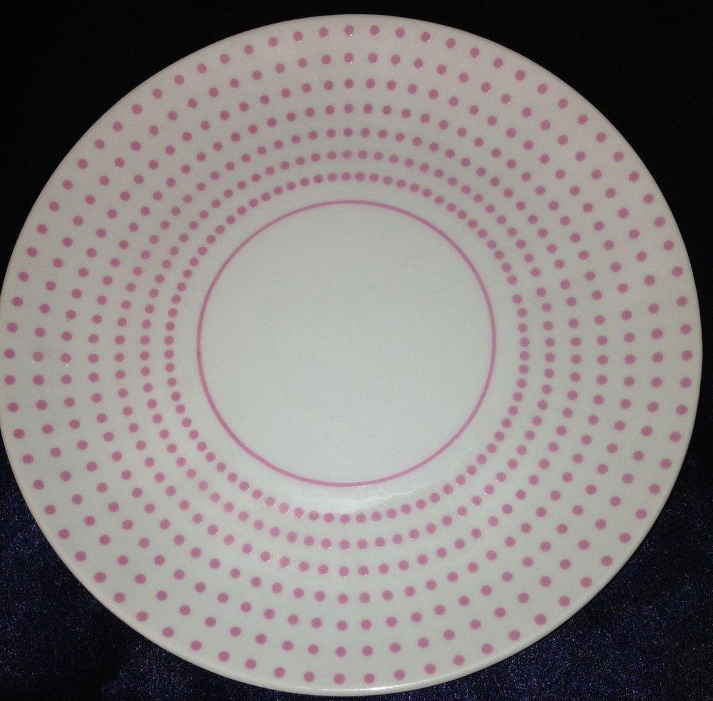 Taste Setter Dotted Suisse Amm Salad Plate Pink Polka Dots On White Pink Polka Dots Dinnerware Ebay Salad Plates