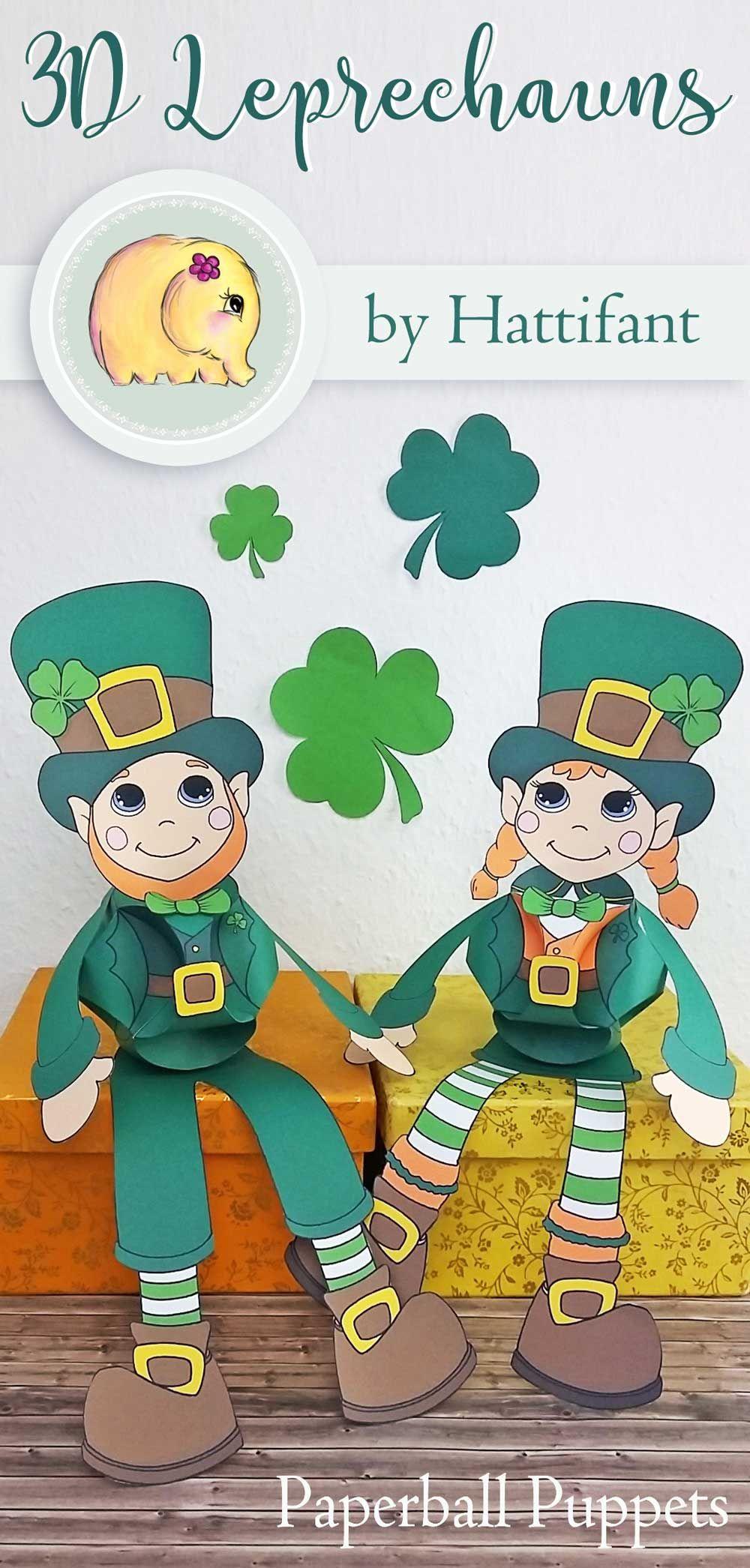 Hattifant\'s St- Patricks Day Girl and Boy Leprechaun Shamrock Clover ...