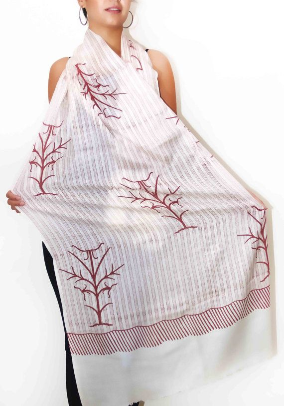 Red hand made Block Print Scarf for woman - Indian kashmiri wool & silk red stole off white scarf