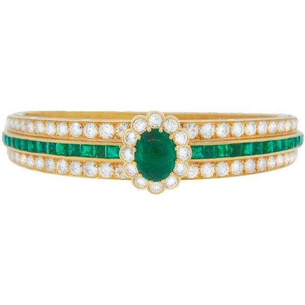 Pre-owned Van Cleef Arpels Emerald Diamond Yellow Gold Bangle Bracelet ($21,510) ❤ liked on Polyvore featuring jewelry, bracelets, bangle bracelet, 18k gold bangle, gold jewelry, 18 karat gold jewelry and emerald bangle bracelet