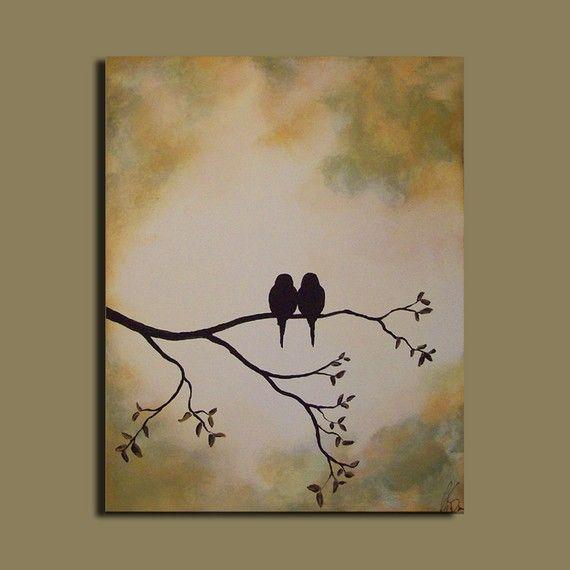 Original Painting Love Birds On Tree Branch Inspiring