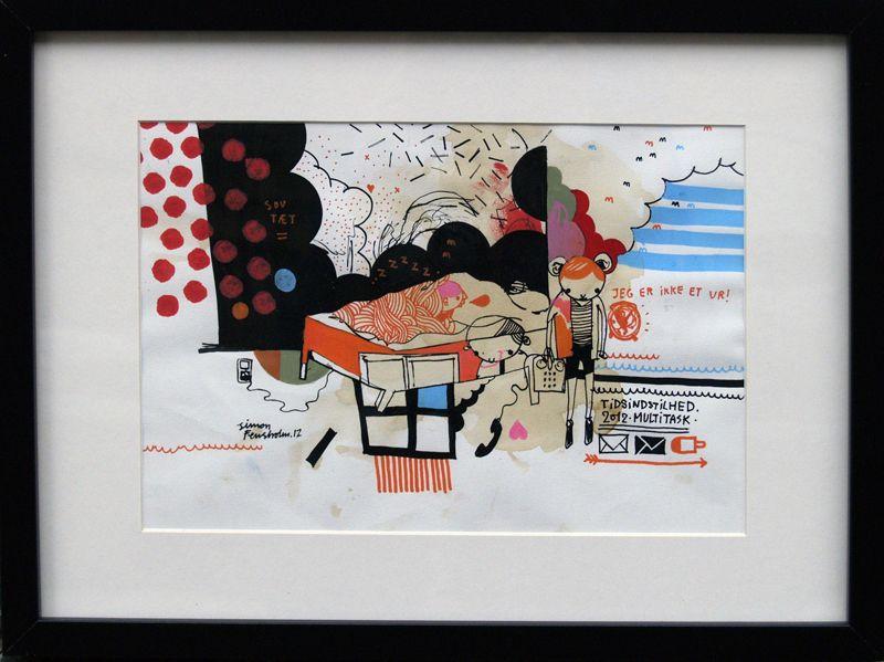 """Artist Simon Fensholm: """"Tidsindsstilhed"""", A2,  Markers and acrylics on paper."""