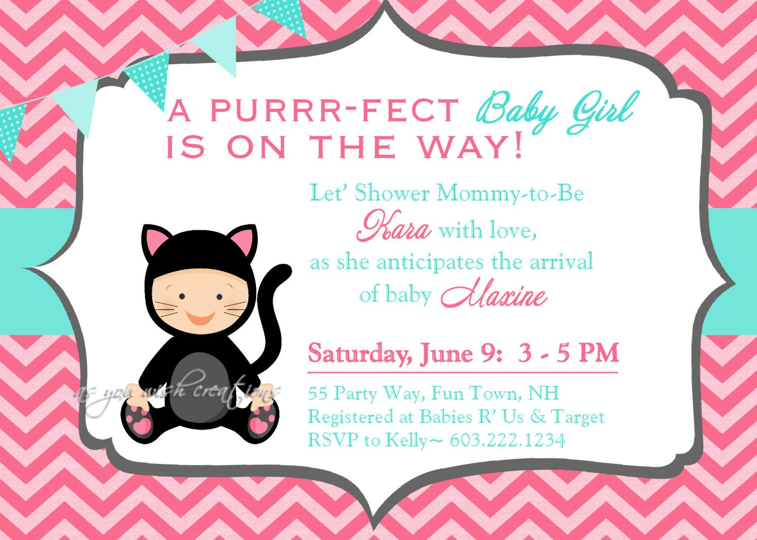 Cat Kitty Baby Shower Invitation Chevron By Asyouwishcreations4u 14 00 Cat Baby Shower Cat Baby Shower Invitations Baby Shower Invites For Girl