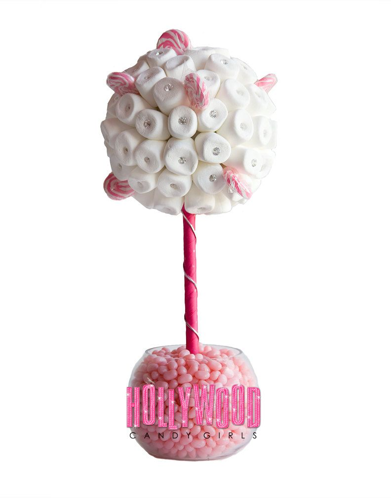 Pink White Marshmallow Lollipop Candy Land Centerpiece Topiary Tree ...