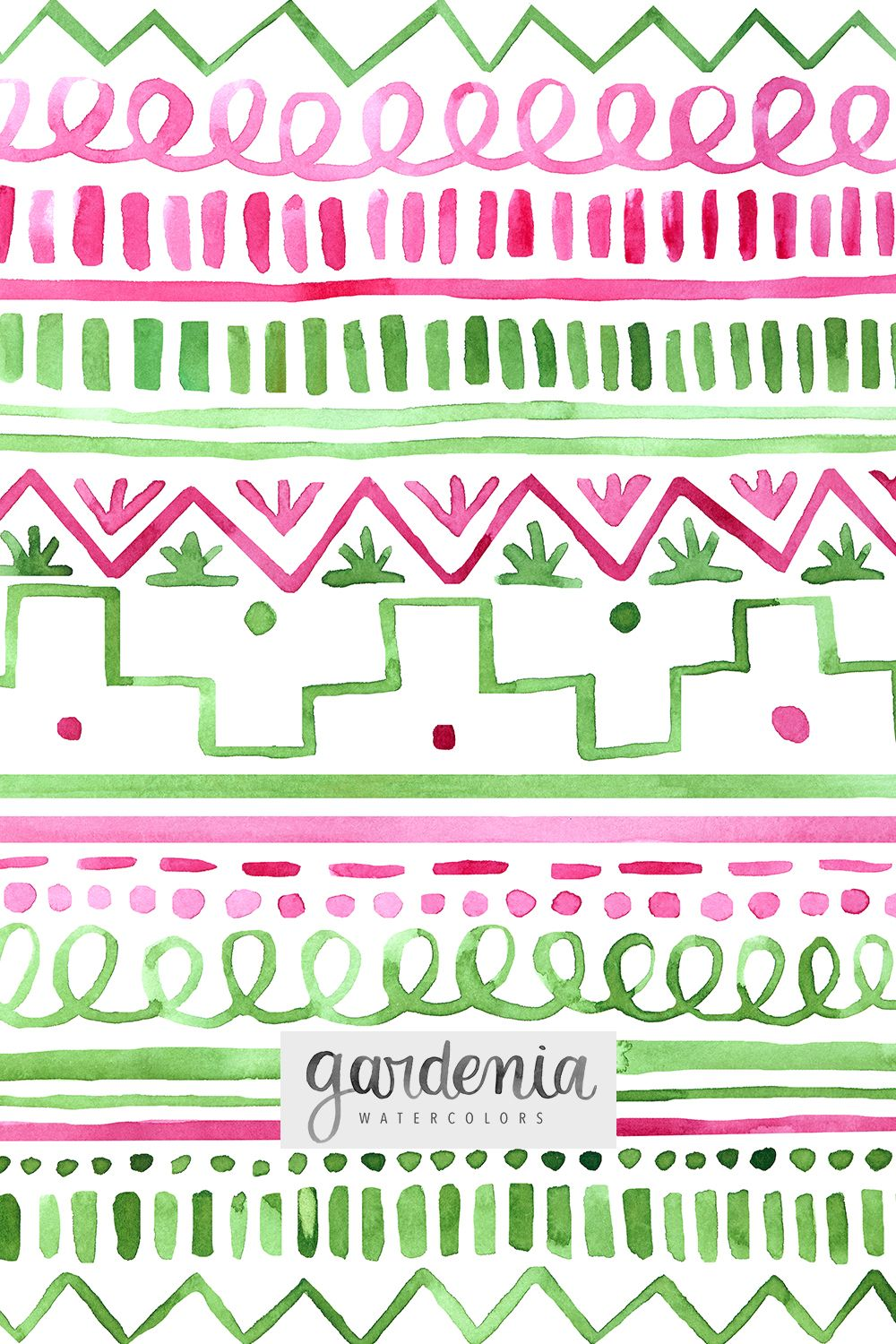 Whimsical Fun Tribal Pattern Pink And Green Illustrations Hand Painted Design Independent Artist Watercolor Pattern Watercolor Lettering Green Watercolor