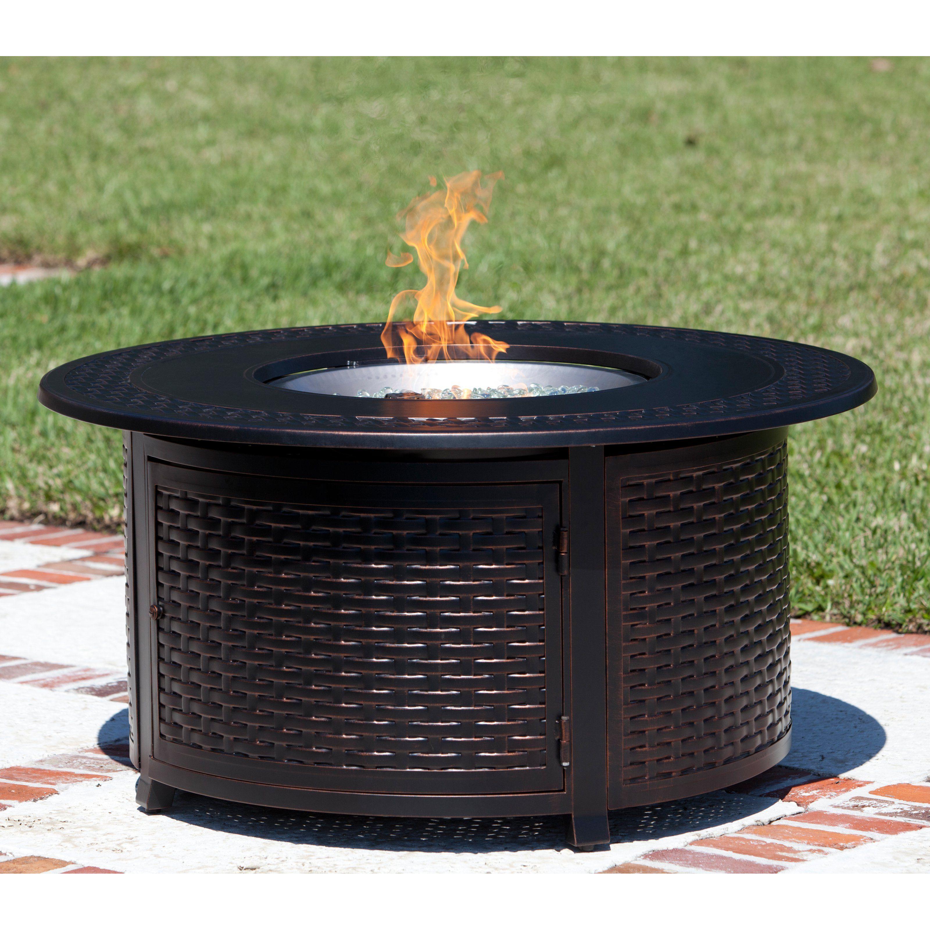 Fire Sense Bellante Woven Cast Aluminum Propane Fire Table With