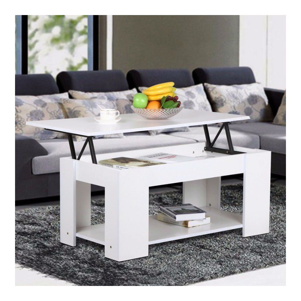 Amazon.com: White Modern Wood Lift Top Coffee / End Table with ...