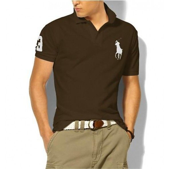 Men Purchase Classic Ralph Lauren Chocolate White Big Pony Polo
