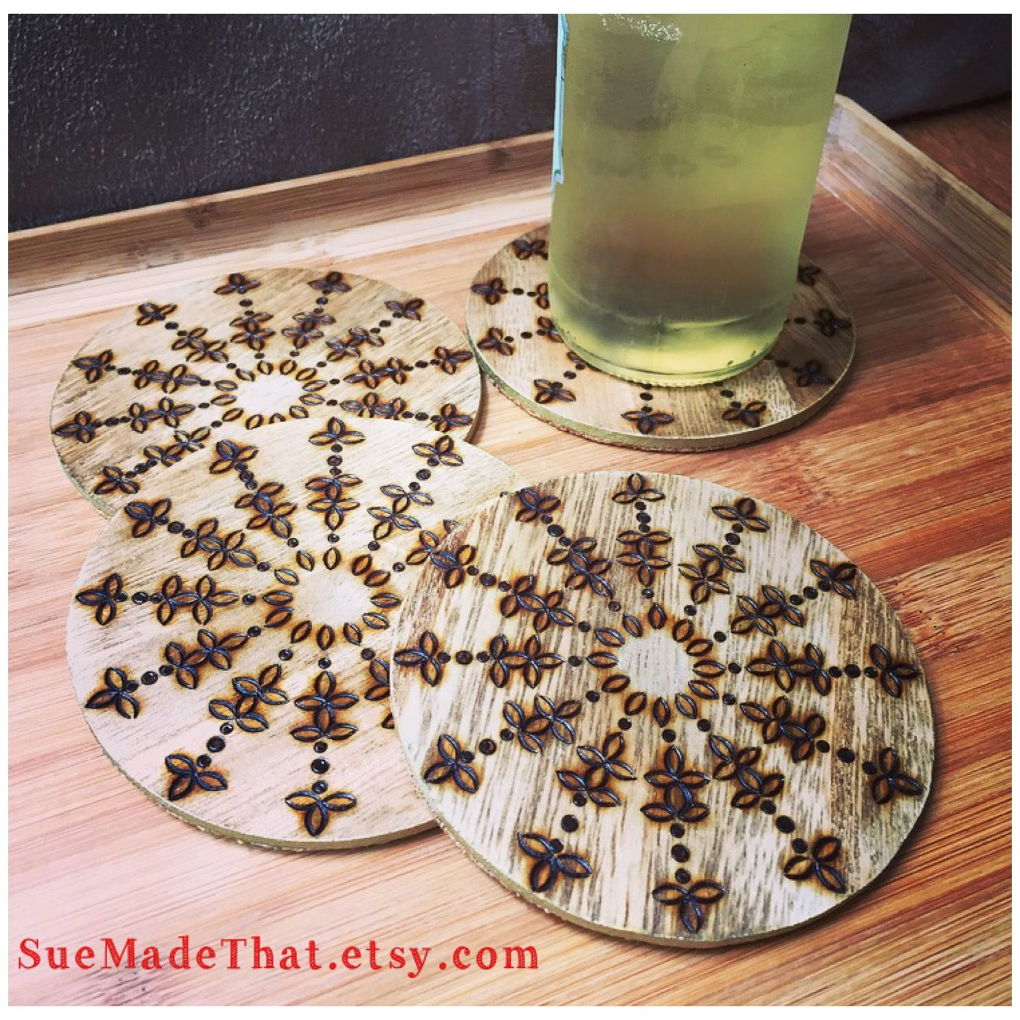 Woodburned coasters for your favorite beverage at