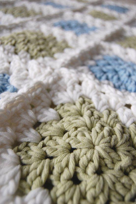 crochet blanket green blue etsy | Crochet | Pinterest