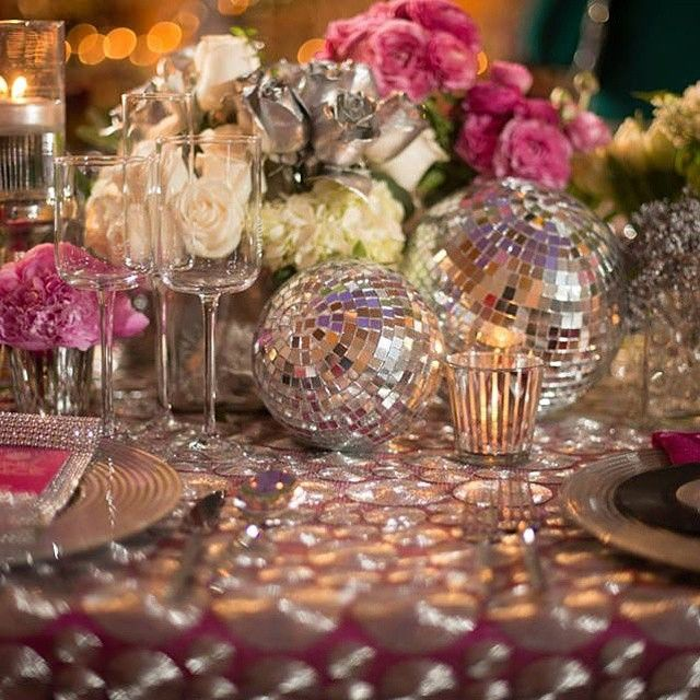 Disco Ball Table Decorations Mesmerizing Disco Floral Centerpiece Sock Hop Party Flowers Album Disco Design Decoration