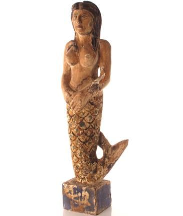 Hand Carved Wooden Mermaid Mermaid Statue Unique Decor She Sits